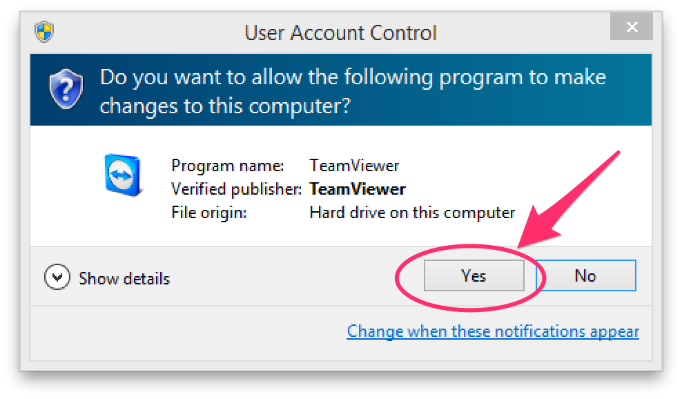 Windows User Account Control prompt showing Yes/No option