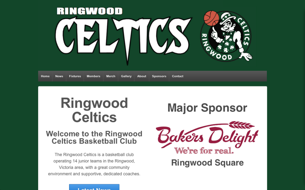 Ringwood Celtics Website Screenshot
