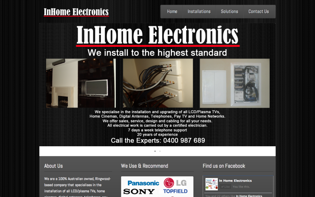 InHome Electronics Website Screenshot