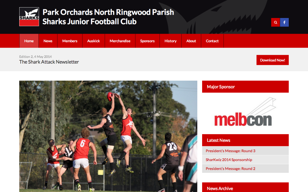 Sharks JFC Website Screenshot